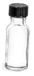 1/2 oz  Clear Glass Round Bottles w/ Black Phenolic Cone Lined Caps