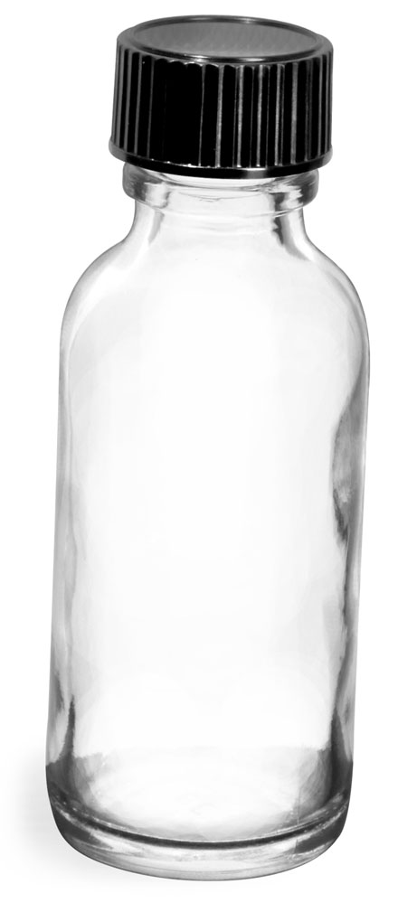 1 oz  Clear Glass Round Bottles w/ Black Phenolic Cone Lined Caps