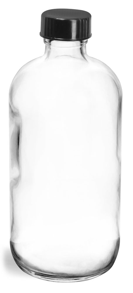 8 oz  Clear Glass Round Bottles w/ Black Phenolic Cone Lined Caps