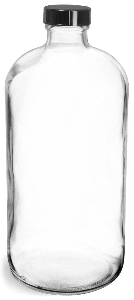 32 oz  Clear Glass Round Bottles w/ Black Phenolic Cone Lined Caps
