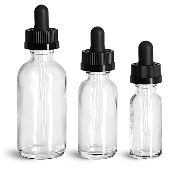 Glass Bottles, Clear Glass Boston Round Bottles w/ Black Child Resistant Glass Droppers