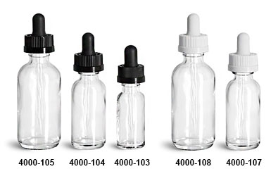 New Clear Glass Boston Round Bottles w/ Black & White Child Resistant Droppers