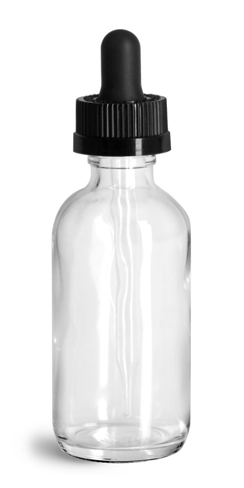 2 oz Glass Bottles, Clear Glass Boston Rounds w/ Black Child Resistant Glass Droppers
