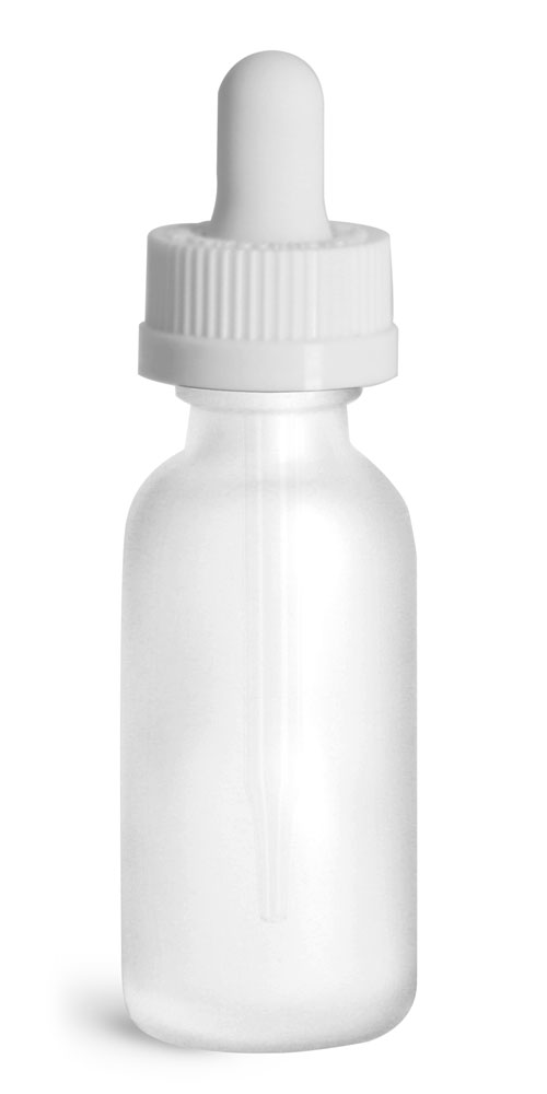 1 oz Glass Bottles, Frosted Glass Boston Rounds w/ White Child Resistant Glass Droppers