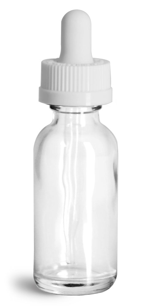 1 oz Glass Bottles, Clear Glass Boston Rounds w/ White Child Resistant Glass Droppers