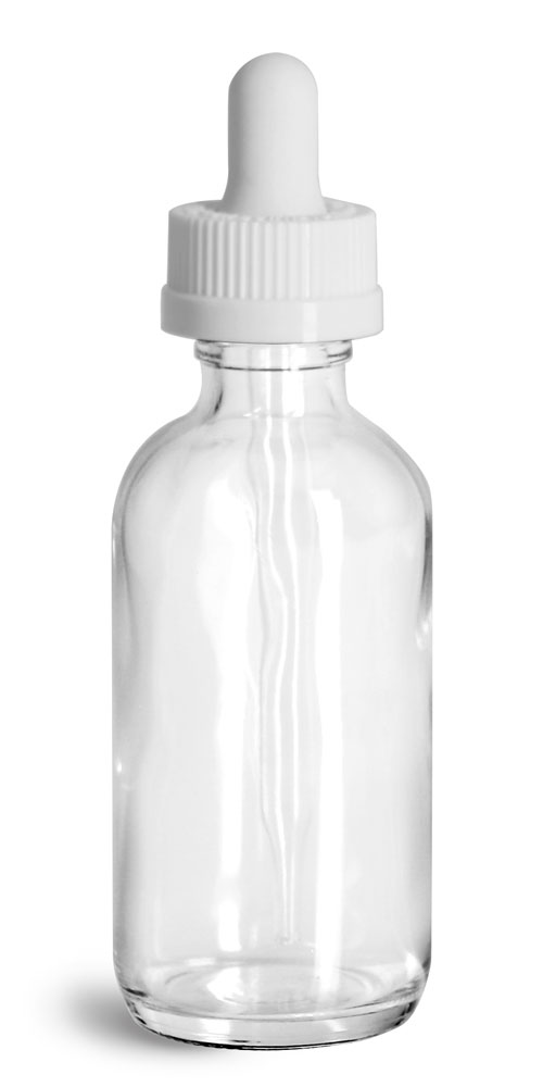 2 oz Glass Bottles, Clear Glass Boston Rounds w/ White Child Resistant Glass Droppers