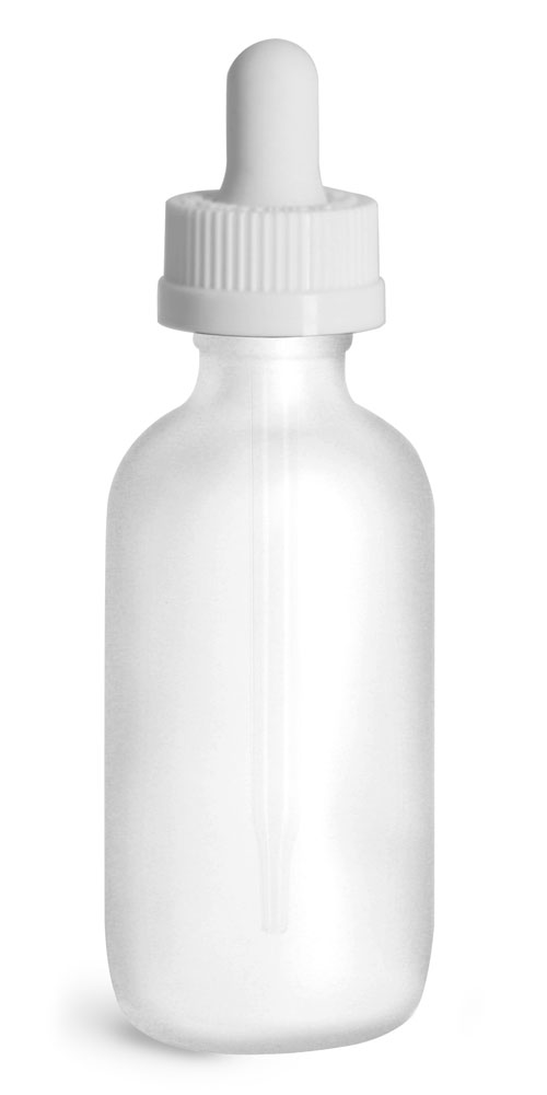 2 oz Glass Bottles, Frosted Glass Boston Rounds w/ White Child Resistant Glass Droppers