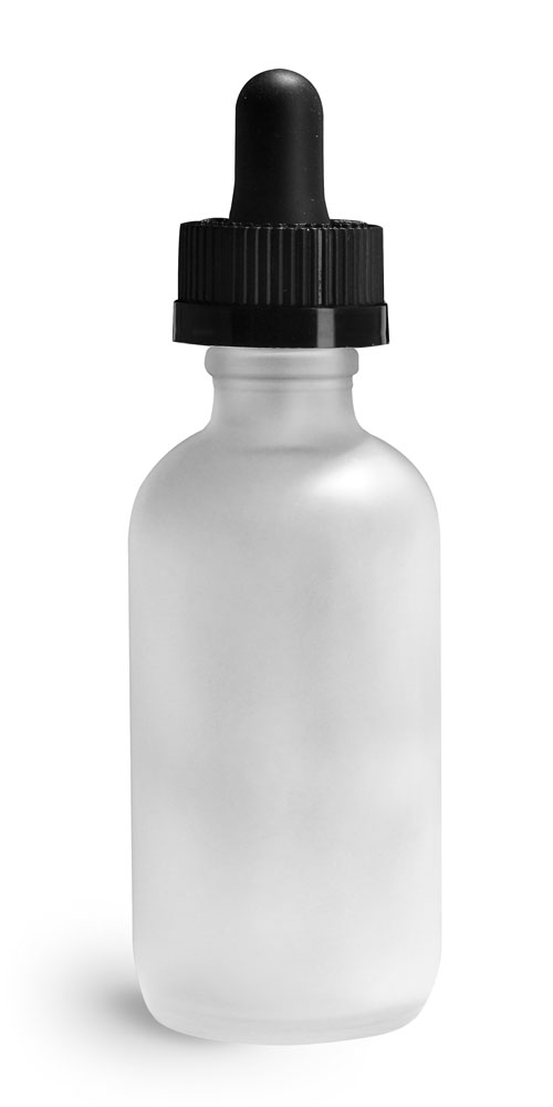 2 oz Glass Bottles, Frosted Glass Boston Round Bottles w/ Black Child Resistant Glass Droppers