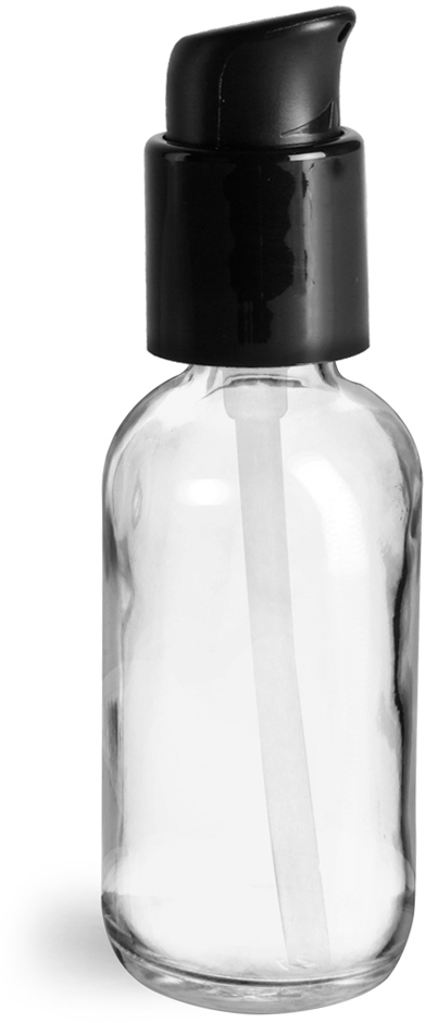 Clear Glass Boston Round Bottles w/ Black Treatment Pumps