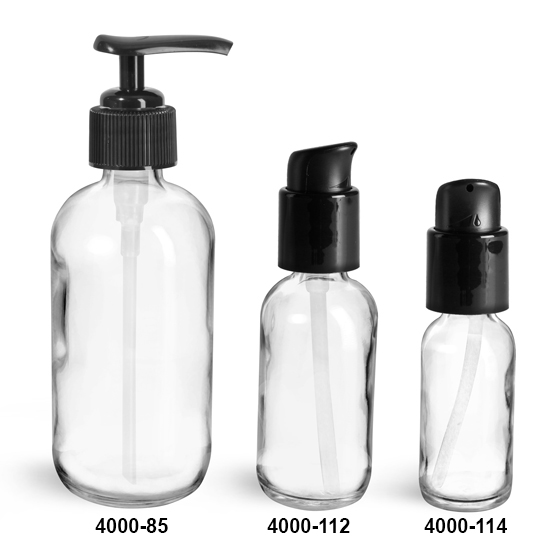 Glass Bottles, Clear Glass Boston Round Bottles w/ Black Pumps