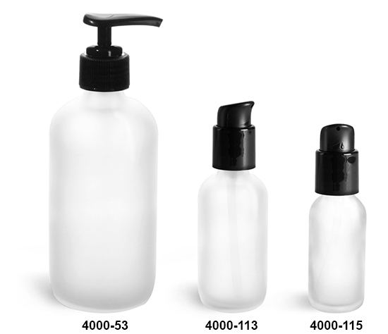 Glass Bottles, Frosted Glass Boston Round Bottles w/ Black Pumps