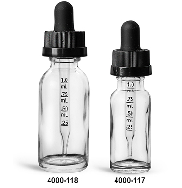 Glass Bottles, Clear Glass Boston Round Bottles w/ Black Child Resistant Graduated Glass Droppers