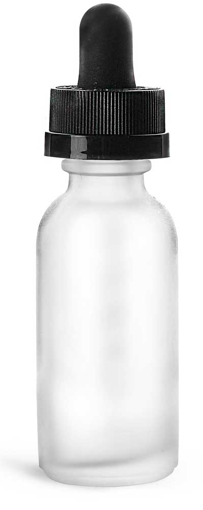 1 oz Frosted Glass Boston Round Bottles w/ Black Child Resistant Graduated Glass Droppers