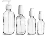 Clear Glass Bottles, Boston Round Bottles w/ White Pumps
