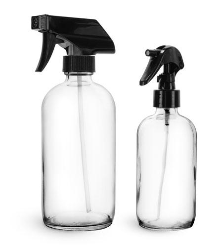 Clear Glass Bottles, Boston Round Bottles w/ Black Trigger Sprayers
