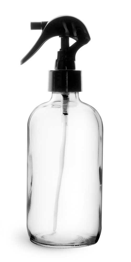 8 oz Clear Glass Boston Round Bottles w/ Black Polypropylene Mini Trigger Sprayers