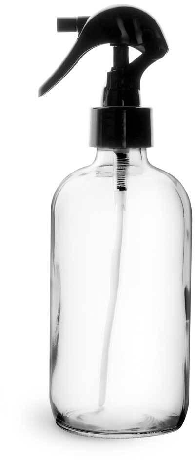 Clear Glass Boston Round Bottles w/ Black Polypropylene Mini Trigger Sprayers
