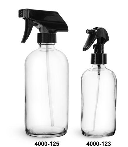 Glass Bottles, Clear Glass Boston Round Bottles w/ Black Trigger Sprayers