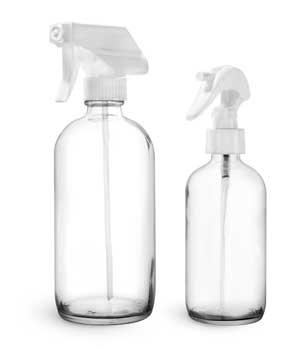 Glass Bottles, Clear Glass Boston Round Bottles w/ White Trigger Sprayers