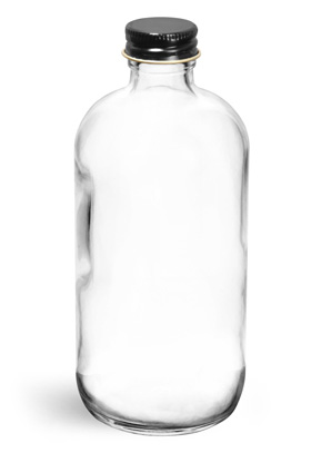 8 oz Clear Glass Round Bottles with Black Metal Foil Lined Cap