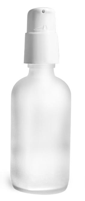 4 oz Frosted Glass Boston Round Bottles w/ White Treatment Pumps