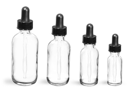 Glass Bottles, Clear Glass Boston Round Bottles w/ Black Bulb Glass Droppers