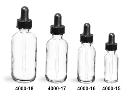 Glass Bottles, Clear Glass Round Bottles with Black Bulb Glass Droppers