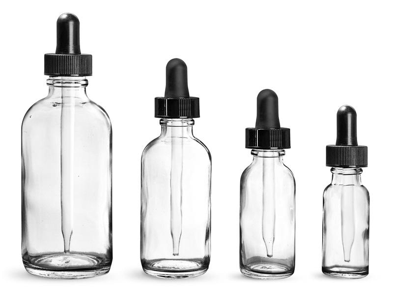Glass Bottles, Clear Glass Boston Round Bottles w/ Black Bulb Glass Droppers