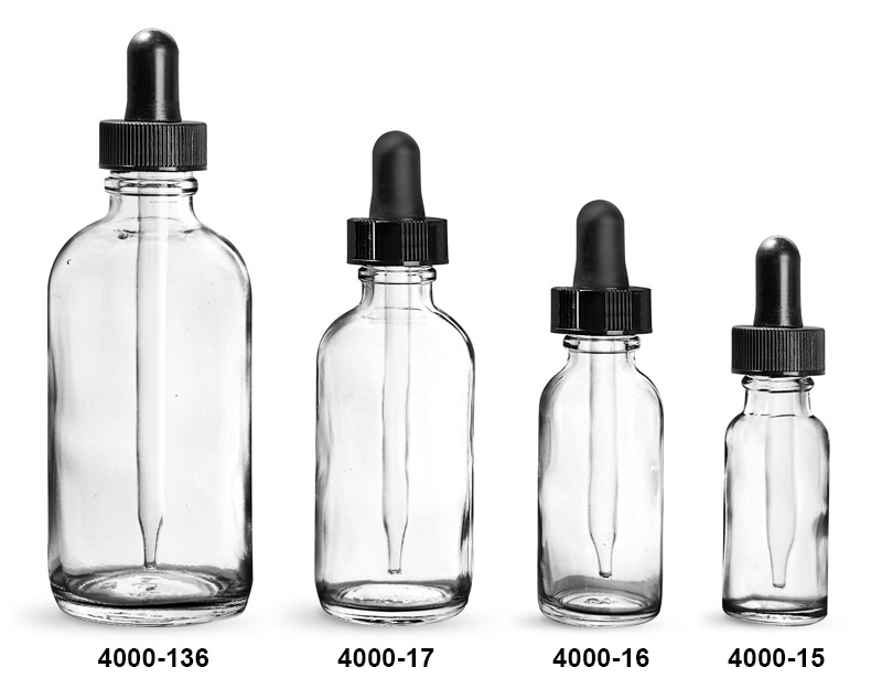 Glass Bottles, Clear Glass Boston Round Bottles With Black Bulb Glass Droppers