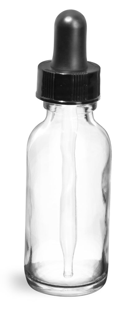 1 oz   Clear Glass Round Bottles w/ Black Bulb Glass Droppers