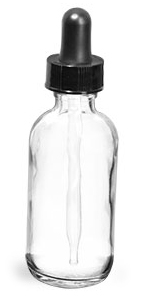 Clear Glass Round Bottles w/ Black Bulb Glass Droppers