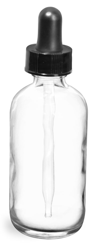 4 oz  Clear Glass Round Bottles w/ Black Bulb Glass Droppers