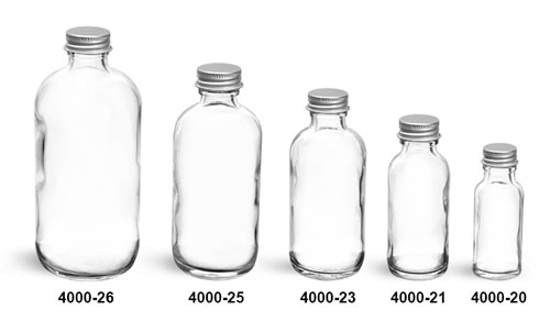 Glass Bottles, Clear Glass Boston Rounds With Lined Aluminum Caps