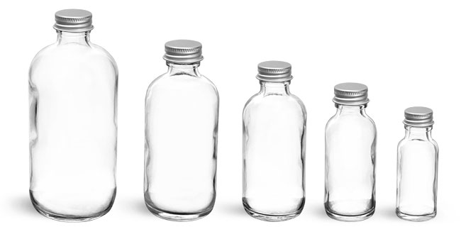 Glass Bottles, Clear Glass Boston Round Bottles w/ Lined Aluminum Caps