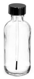 2 oz      Clear Glass Boston Round Bottles w/ Black Brush Caps