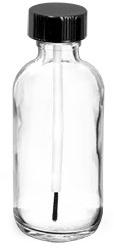 Clear Glass Boston Round Bottles w/ Black Brush Caps