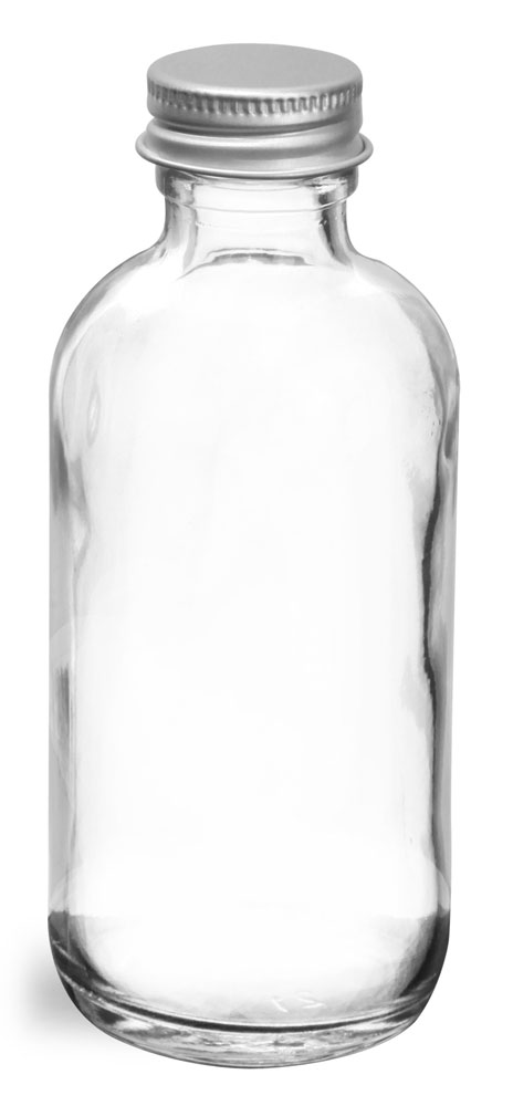 2 oz  Clear Glass Round Bottles w/ Lined Aluminum Caps