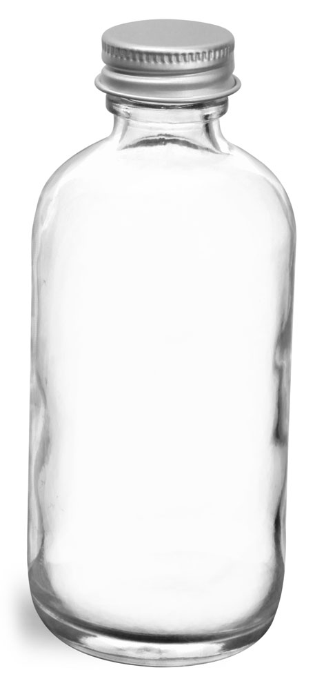 4 oz  Clear Glass Round Bottles w/ Lined Aluminum Caps