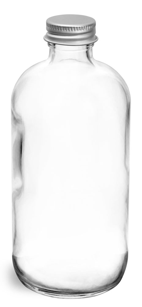 8 oz  Clear Glass Round Bottles w/ Lined Aluminum Caps