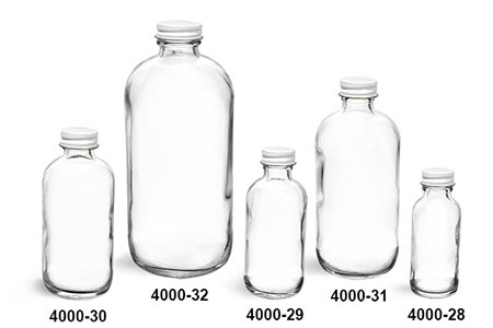 Glass Bottles, Clear Glass Boston Round Bottles w/ Foil Lined White Metal Caps