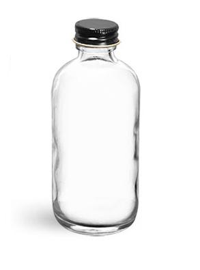 Glass Bottles, Clear Glass Boston Round Bottles w/ Foil Lined Black Metal Caps