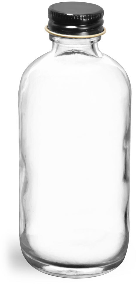 Clear Glass Round Bottles w/ Foil Lined Black Metal Caps