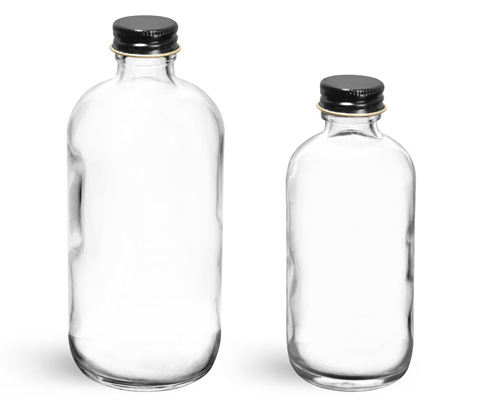 Glass Bottles, Clear Glass Boston Round Bottles w/ Foil Lined Black Metal Caps