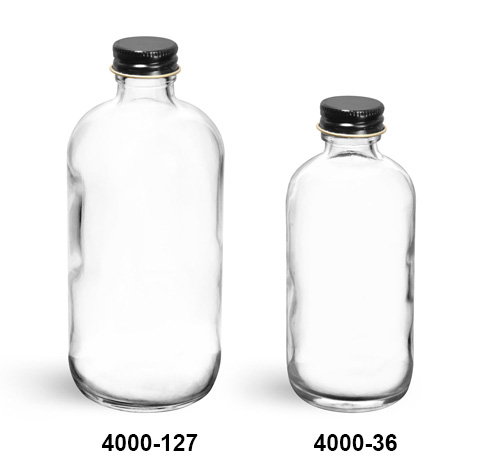 Glass Bottles, Clear Glass Boston Round Bottles With Foil Lined Black Metal Caps