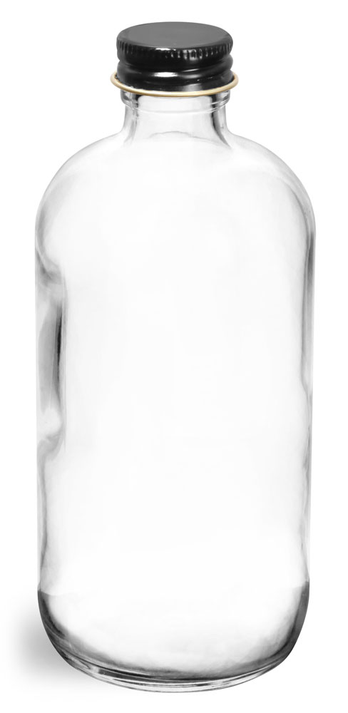 8 oz  Clear Glass Round Bottles w/ Foil Lined Black Metal Caps