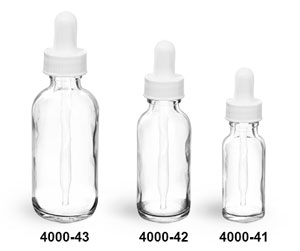 Glass Bottles, Clear Glass Round Bottles with White Bulb Glass Droppers
