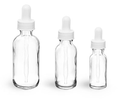 Glass Bottles, Clear Glass Boston Round Bottles w/ White Bulb Glass Droppers