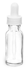 1/2 oz   Clear Glass Round Bottles w/ White Bulb Glass Droppers