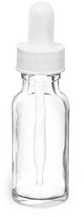 Clear Glass Round Bottles w/ White Bulb Glass Droppers