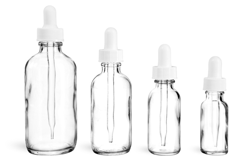 Clear Glass Bottles, Glass Boston Round Bottles w/ White Bulb Glass Droppers